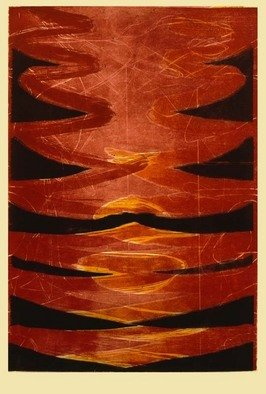 Josef Hlavacek Artwork The Flames, 1992 Woodcut, Abstract