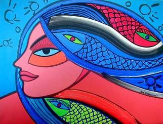 Artist: Jose Miguel Perez Hernandez - Title: Head of woman with fish - Medium: Acrylic Painting - Year: 2007