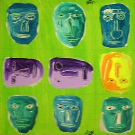J Osl Artwork Caveman faces, 2011 Acrylic Painting, New Age