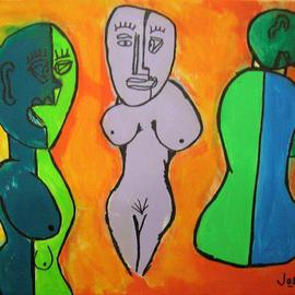 J Osl Artwork Three Nude Women, 2011 Acrylic Painting, New Age