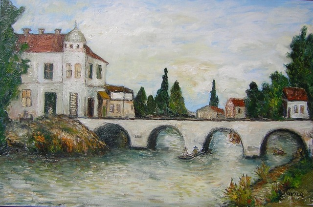 Jovica Vucinic  'Bridge In Vukovar', created in 2007, Original Pastel Oil.