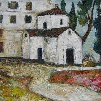 Jovica Vucinic: 'Church in Adriatic', 2007 Oil Painting, Landscape.