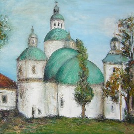 Jovica Vucinic Artwork Green Roof   Church, 2004 Oil Painting, Religious