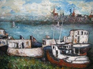 Jovica Vucinic: 'Old ship', 2002 Oil Painting, Boating.