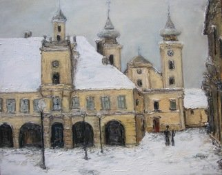 Jovica Vucinic: 'Winter in Tvrdja', 2003 Oil Painting, Cityscape.