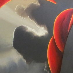 , Two Figures With Clouds1, Abstract Figurative, $525