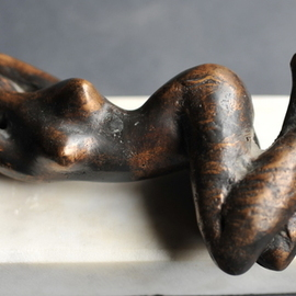 John Biro: 'awakeing-bronze sculpture', 1998 Bronze Sculpture, People. Artist Description: awakeing- 22x8x10cm...