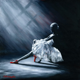 Joseph Mclaughlin: 'Ballerina with red shoes', 2014 Acrylic Painting, Figurative. Artist Description:  I love monotone images and addng atouch of red brings te art to life. ...