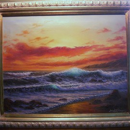 Joseph Porus Artwork Blazing Skies, 2001 Oil Painting, Seascape