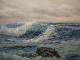 Joseph Porus: 'Breaking Water', 1989 Oil Painting, Seascape.     Oil on  stretched fine canvas.          ...