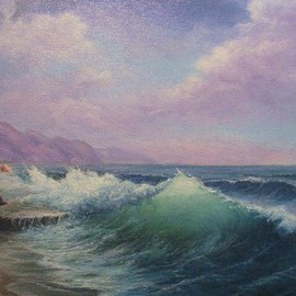 Joseph Porus Artwork Emerald Seas, 2006 Oil Painting, Seascape