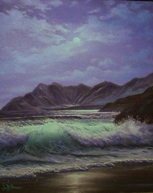 Joseph Porus: 'Evening Solitude', 1989 Oil Painting, Seascape.  Oil on  stretched fine canvas.           ...