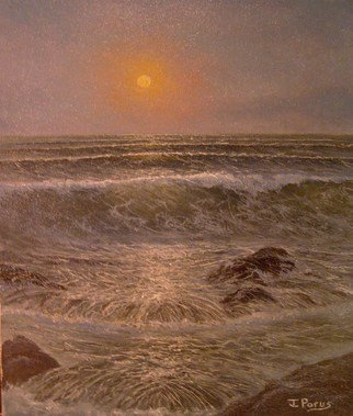 Joseph Porus: 'Fading Light', 1985 Oil Painting, Seascape.   Oil on  stretched fine canvas.            ...
