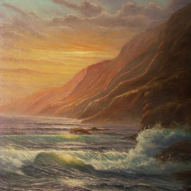 Joseph Porus Artwork Hawaii Headlands, 2001 Oil Painting, Seascape