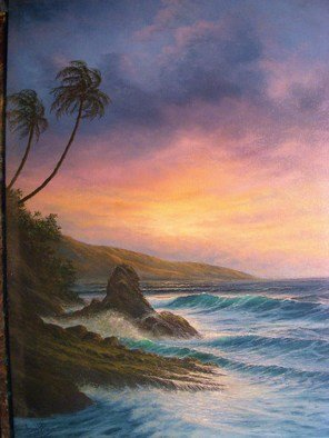 Joseph Porus: 'Hawaii Playgound', 2007 Oil Painting, Beauty. Artist Description:     Oil on fine linen. The vibrant transparent colors of this sunset is not captured well in this photo. . . A dozen layers of glaxed oils makes the prism that makes the glow that . . . well . . that makes the painting!  ...