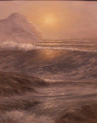 Joseph Porus: 'Hazy Day', 1986 Oil Painting, Seascape.      Oil on stretched fine canvas.     ...