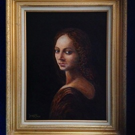Joseph Porus: 'Leonardo DaVinci Revealed', 2012 Oil Painting, Portrait. Artist Description:        Leonardo Da Vinci only did a pencil sketch of thid girl. I used his sketch from one of his notebooks and completed the painting. . . . An interesting view of what might have been!                          ...