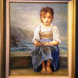 Joseph Porus: 'Little Girl Lost', 2013 Oil Painting, Portrait. Artist Description:  Oil on linen. I took the original Bourgurea and placed the girl on a beach with distant surf in the background....