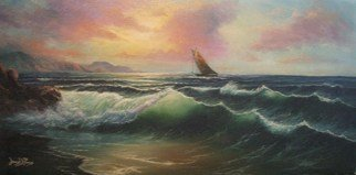 Joseph Porus: 'Looking Windward', 1996 Oil Painting, Sailing.   Oil on fine canvas. Sailboat in a stiff breeze is the centerpiece of this beautiful sunset. Mixed technigues of alla prima and multiple later coats of glazes and varnishes bring the sea to life. ...