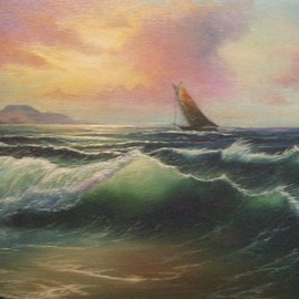 Joseph Porus: 'Looking Windward', 1996 Oil Painting, Sailing. Artist Description:   Oil on fine canvas. Sailboat in a stiff breeze is the centerpiece of this beautiful sunset. Mixed technigues of alla prima and multiple later coats of glazes and varnishes bring the sea to life. ...