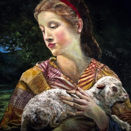 Joseph Porus: 'Lost Lamb', 2016 Oil Painting, Portrait. Artist Description:                                     Oil on linen  inspired from Bourgereau original.  This one a close up variation                                                             ...