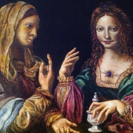 Joseph Porus: 'Mary Sees The Light', 2012 Oil Painting, Portrait. Artist Description:   Oil on linen. This painting from the High Reniassance depicts Mary's conversion. Notic how she is repeating the gesture of pointing toward heaven while leaving some expensive jewelry behind on the table                             ...