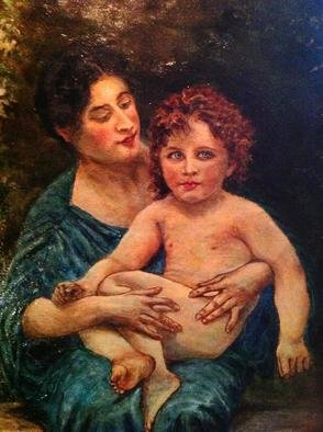 Joseph Porus: 'Mother and Child ', 2013 Oil Painting, People.                     Oil on linen Based on work of Bougureau and done in his style.!                                              ...