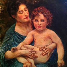 Joseph Porus: 'Mother and Child ', 2013 Oil Painting, People. Artist Description:                     Oil on linen Based on work of Bougureau and done in his style.!                                              ...