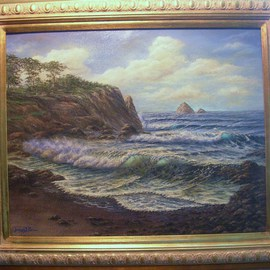 Joseph Porus Artwork Oregon Shorline, 1999 Oil Painting, Seascape
