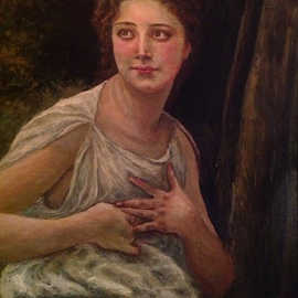 Joseph Porus: 'Otherwised Engaged', 2012 Oil Painting, Portrait. Artist Description:    Oil on linen. This painting is based on William Adolphe Bougereau's great original.                              ...