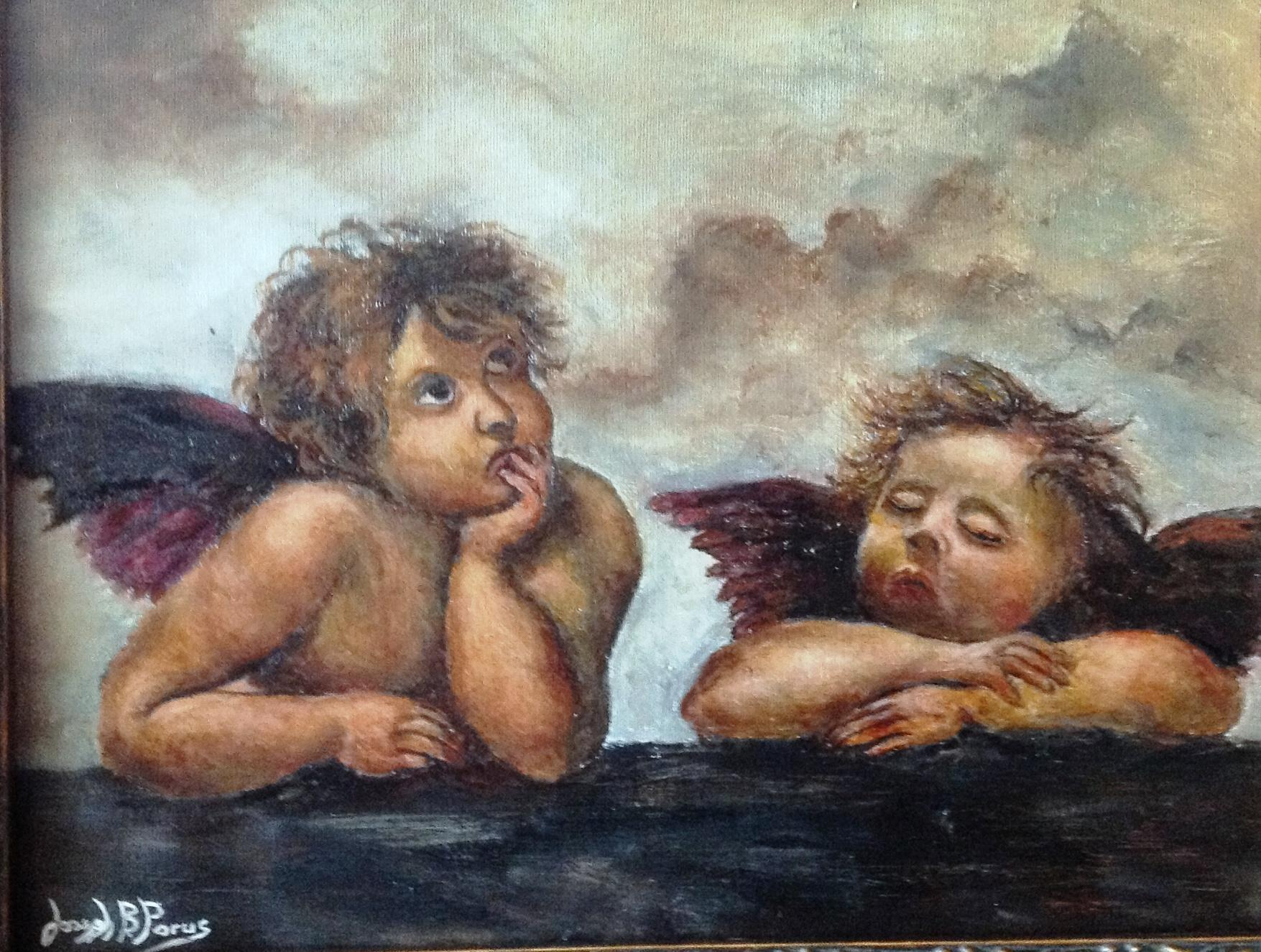 Famous Cherubs In Clouds Painting