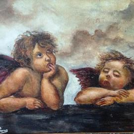 Joseph Porus: 'Raphael Angels Only Different', 2013 Oil Painting, Biblical. Artist Description:                 Oil on linen. Raphael's cherubs . . . except . . . . I painted one of them fast asleep                                          ...