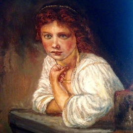 Joseph Porus: 'Rembrandt Study of Young Girl', 2016 Oil Painting, Portrait. Artist Description:  Oil on linen Based on work of Rembrandtdone in his style. ! ...