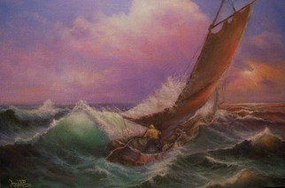 Joseph Porus: 'Sailing lesson', 1999 Oil Painting, Sailing.         Oil on fine canvas. Sailing can be a handful! Once you know what you are doing the fear turns to joy! ...