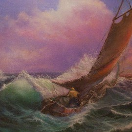 Joseph Porus: 'Sailing lesson', 1999 Oil Painting, Sailing. Artist Description:         Oil on fine canvas. Sailing can be a handful! Once you know what you are doing the fear turns to joy! ...