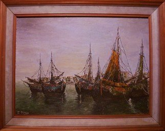 Joseph Porus Artwork Sails at Port, 1988 Oil Painting, Sailing
