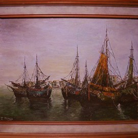 Joseph Porus: 'Sails at Port', 1988 Oil Painting, Sailing. Artist Description:       Oil on canvas board.       ...