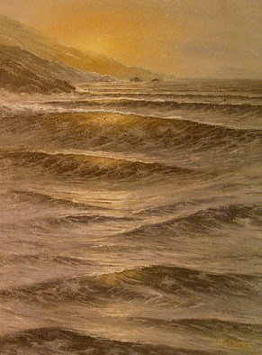 Joseph Porus: 'Tranquil Seas', 1986 Oil Painting, Seascape.    Oil on  stretched fine canvas.             ...