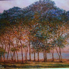 Joseph Porus: 'Trees A Monet Study', 2009 Oil Painting, Trees. Artist Description:         Oil on fine linen. Based on Monet's original using his  techniques, grounds and mediums.       ...