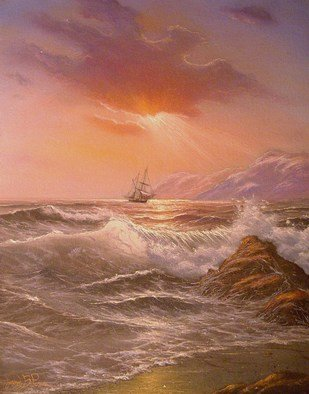 Joseph Porus: 'Turning Toward Home', 2002 Oil Painting, Sailing.       Oil on stretched fine canvas. Sailboat hard pressed by the wind under light sail. Original by E Garrin, this rendition is softer and the omposition has been altered to fit a 12x16 format      ...