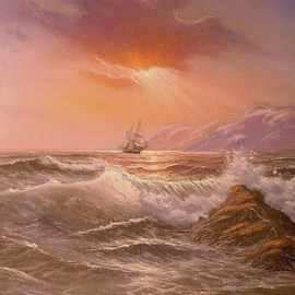 Joseph Porus: 'Turning Toward Home', 2002 Oil Painting, Sailing. Artist Description:       Oil on stretched fine canvas. Sailboat hard pressed by the wind under light sail. Original by E Garrin, this rendition is softer and the omposition has been altered to fit a 12x16 format      ...