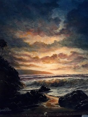 Joseph Porus Artwork maui glow, 2017 Oil Painting, Beach