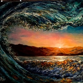 Joseph Porus: 'seaglass', 2017 Oil Painting, Seascape. Artist Description: Based on a photo taken inside a wave Multitude of transparent and opaque paint layers...
