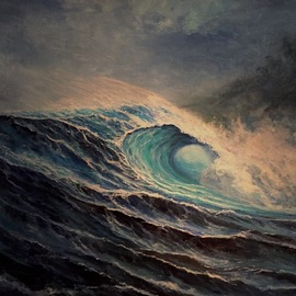Joseph Porus Artwork surfs up, 2017 Oil Painting, Seascape