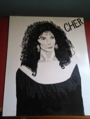 Jimmy Sloan: 'hand paonted portrait of cher', 2018 Acrylic Painting, Portrait. Artist Description: A beautiful acrylic hand painted portrait on canvas of the legendary and international music sensation Cher. ...