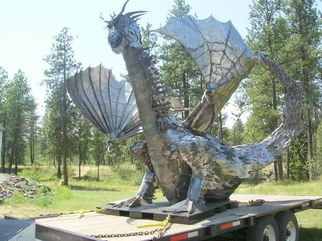 James T Douglas: 'Flaming Dragon', 2013 Steel Sculpture, Mythology. Artist Description:  Modern abstract indoor/ outdoor large steel sculpture. . . fire breathing dragon ...