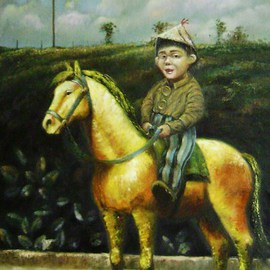 Juan Rodrigo Piedrahita Escobar: 'Child with whorse', 2010 Oil Painting, Figurative. Artist Description:  my art is about  toys ...