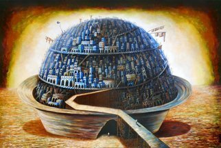 Tony Rodriguez  Juan Antonio Rodriguez Olivares: 'chronicles of the world', 2014 Oil Painting, Surrealism. Artist Description: cities , dishes, landscape...