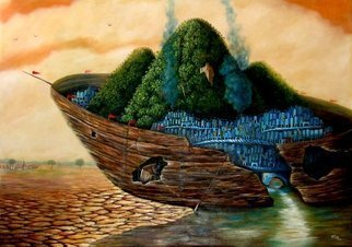 Tony Rodriguez  Juan Antonio Rodriguez Olivares: 'the guild', 2010 Oil Painting, Surrealism. Artist Description: cities, ships, sea, landscape...