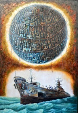 Tony Rodriguez  Juan Antonio Rodriguez Olivares: 'who we are', 2014 Oil Painting, Surrealism. Artist Description: ships, cities, sea...
